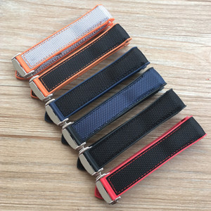 20mm 22mm Orange Blue Red Rubber Silicone With Nylon Watch Band Strap For OME Ocean 300 Speedmaster Bracelet