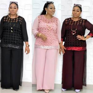 Size 2 Piece Pants Wide Leg Lace Loose Long Sleeved Crew Neck Suits Fashion Women Tracksuits Hollow Sequins Womens Designer Tracksuits Plus