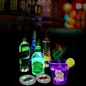 Colorful Flash Wine Bottle Stickers LED Light Cup Stickers 4 Lights Colorful LED Coasters Bar Holiday Decoration LED Night Light.#kli
