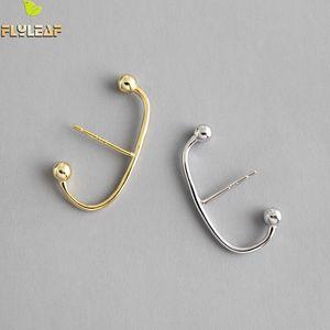 Шпилька Flyleaf Простые Золотые бусины Тип C Открытые Ювелирные Изделия 100% Серьги стерлингового серебра 925 Для Женщин Уроки Мода Веселье