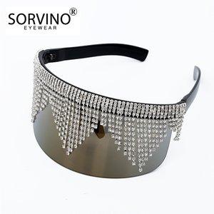 Солнцезащитные очки мода горный хрусталь негабаритное зеркало для женщин мужчин 2021 роскошь большая рамка маска алмазные брюки серебряные очки тень