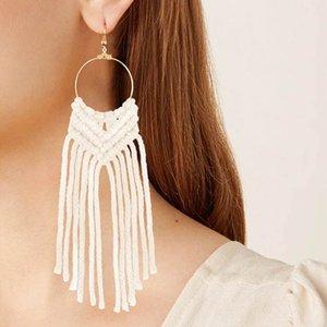 2020 New Hand Woven Earrings Women Cotton Rope Knot Tassel Ear Drop Long Fringe Dangle 9 Colors Wholesale