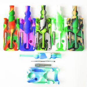 Силиконовые Нектар коллектор комплекты с 14 мм совместного Ti нектара ногтей коллектора нефтяных вышек стекло Bongs Силикон вода трубы мазок станкам бесплатную доставку
