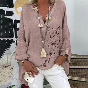 Womens Shirts New Cotton Linen Blouse Women Vintage Long Sleeve Shirt Robe Femme Work Tunic Tops Chemise Print V Neck Blusas