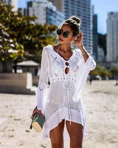 Fashion Women Summer Clothes Women Designer Dresses Casual Holiday Style Solid Color Hollow Out Knitted Cloak