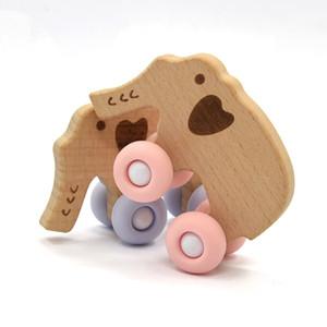 Elephant Hot Selling FDA madeira de faia Silicone de madeira bebê crianças Sensorial Toque dentição Teether Fidget Chew Brinquedos Kit Atacado Educacional