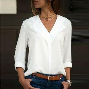 Осень белый с длинным рукавом шифон BlouseDouble V-образным вырезом Женщины Топы и блузки Твердая офиса Рубашка Lady Блуза Рубашка Blusas Камиза