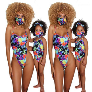 Strap One Piece Swimsuits Fashion Parent -Child Outfit Summer Womens Designer Swimwear Sexy Floral Printed Spaghetti