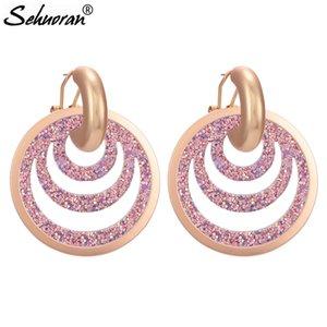 Sehuoran Zink-Legierung Bid runde Tropfen-Ohrringe für Frauen Trendy Leder baumeln Ohrringe Modeschmuck Partei Oorbellen Großhandel