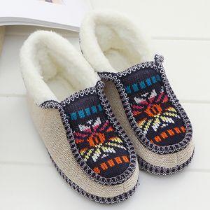 Invierno zapatillas de las mujeres suave algodón suelto Winter Home zapatos de mujer antideslizante robusta Sole Casa deslizadores de las mujeres Diseño de espuma de memoria