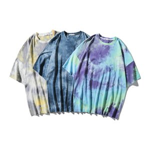 Hip-hop fashion brand ins high street tie-dyed letter printing loose bfstyle casual couple short-sleeved T-shirt for men CX5D