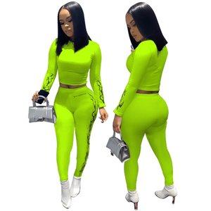 Kadınlar İki adet Seti Spor Sonbahar İlkbahar Spor yazdır Streetwear Uzun Kollu Tişört Mahsul Yüksek Bel Pantolon Tops