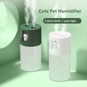 2 Spray Nozzles Cute Pet Air Humidifier Aroma Essential Oil Diffuser with LED Lamp 280ml Ultrasonic Cool Mist USB Humidificador