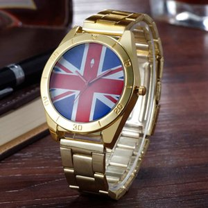 Fashion Clover Frauen, Männer unisex 3 Blatt Blätter britische Flagge Stil AD07 Zifferblatt Stahl-Metall-Band Quarz-Armbanduhr