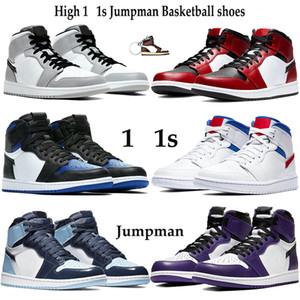 Neue Version Hoch 1 1s-Basketball-Schuhe Männer Frauen Jumpman athletische Turnschuhe Licht Rauchgrau Mid Chicago Toe Weiß Rot Royal Trainers