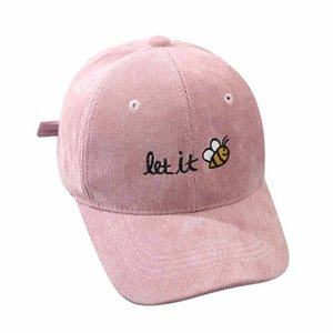 Autumn Kids Bee Cute Baseball Cap Children Hip Hop Hat Letters Corduroy Snapback for Boys Girls 2-8yrs