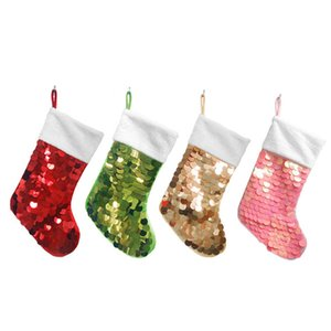 Sequin Christmas Socks Merry Christmas Gift Candy Storage Bag Pink Red Green Gold 19 inches Sequin Xmas Gift Decorative Stocking GWE1702