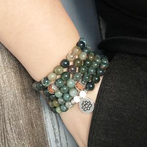 108 Perles prière Yoga méditation pour poignet des bracelets Japa Inde A-Pierre Porte de l'Inde 8 mm Rudraksha Lotus Charm bracelet