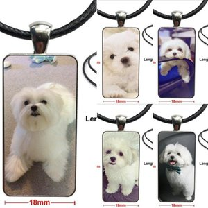 I Love My Maltese Dog Puppies Glass Pendant Necklace Handmade Half Pendant Rectangle Necklace For Women Men