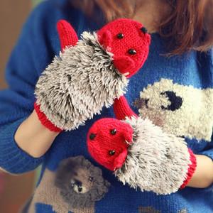 Frauen-Winter-Handschuhe Strick Crochet Mittens voller Finger Cotton Mädchen-Karikatur Fleece Hedgehog Skihandschuh