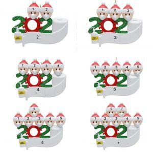 2020 Árvore de Natal Ornamento do Natal Quarentena pendent Família Decoração presente do ornamento com resina mascarar Sanitized Mão