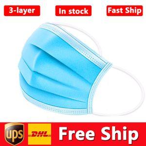 DHL-UPS-freies Verschiffen Wegwerfschablone 50pcs 3-Schicht-Gesichtsmaske Schutz und persönliche Gesundheit Maske mit Earloop Mund Gesicht Sanitary Masken