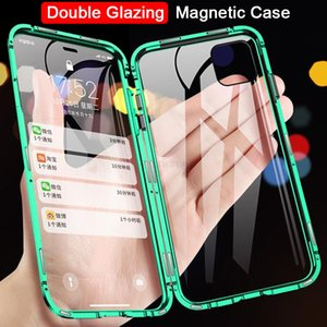 Manyetik Adsorpsiyon Metal Telefon Kılıfı iPhone XR XS X XS 6 7 8 Artı 11 12 pro maksimum Çift temperli cam Tam Koruyucu Kapak Kılıf Taraflı