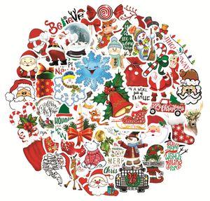 هدية عيد الميلاد ملصقات لزجاجات المياه 50 حزمة ماء ملصقات عيد الميلاد لأجهزة الكمبيوتر المحمول الاطفال الأمتعة دراجات ملصق على الجدران الرقع DHF1727