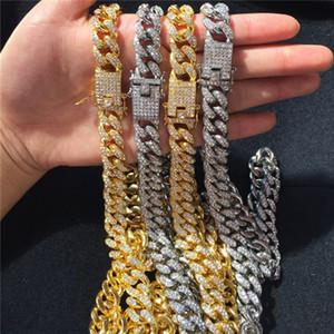 Para hombre hacia fuera helado Hip Hop de la cadena de joyería de plata del collar encadena Miami pulseras de oro rosa collar de Cuban Link