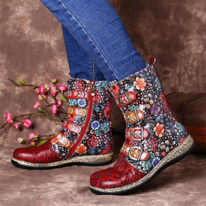 SHUJIN 2020 Boots Shoes Western Cowboy Style Europe and Handsome Retro Small Ladies Floral Boots