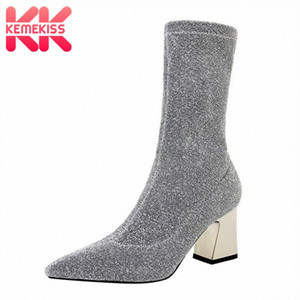 KemeKiss Women High Heels Boots Winter Warm Stretch Boots Thick Heels Shine Woman Shoes Fashion Sexy Mid Calf Size 34 40 Cheap Cowgirl kMMR#