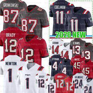 12 Tom Brady Jersey 87 Rob Gronkowski 1 Cam Newton New TampabaieBuccaneer AngleterrePatriot 11 Julian Edelman 4 Jarrett Stidham