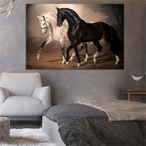 Black and White Horse Wall Art Canvas Prints Modern Animal Canvas Art Paintings On The Wall Canvas Pictures Posters Wall Decor