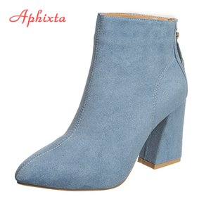Aphixta Classics Ankle Women Boots Kid Suede Soft Shoes Anti-Skid Women Boots Pointed Toe Square High Heels Zip Ladies Footwear 200924