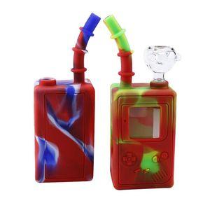 Yeni stil cam suyu bonglar çocukluk oyun makinesi cam ile 7.3 inç Mini bonglar kırılmaz su bong kase