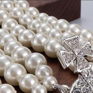 Новый продукт 3 слоя 2 цвета жемчужина орбитальные ожерелье дамы горный хрусталь спутник планеты ожерелье подарок высокого качества