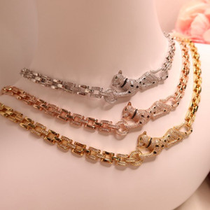 High quality full CZ diamond animal leopard necklace chain designer 18K gold plated panther party jewelry for women or men
