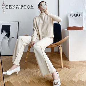 Genayooa Cashmere 2 Stück Hose-Klagen für Frauen gestrickten Langarm-Zweiteiler Top und Hosen Anzug Frauen Outwear Korean