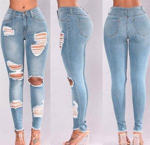 Giyim Kadınlar Yüksek Bel Skinny Jeans Moda Sıkı Delik kalem pantolon 20ss Kadınlar Designer Ripped Yıkanmış