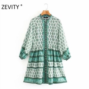ZEVITY New Women national patchwork totem flower print shirt dress office lady retro breasted pleats vestido chic Dresses DS43960921