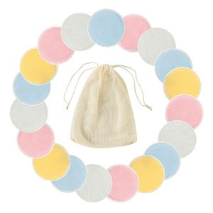 Reusable Bamboo Cotton Make up Facial Remover Triple Layers Wipe Nail Art Cleaning Pads Washable Pads with Laundry Bag