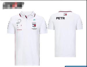 Mercedes-Benz benz Hamilton Bottas 2020 kısa kollu POLO gömlek W11 beyaz aynı özel çabuk kuruyan F1 Formula Bir yarış poliester