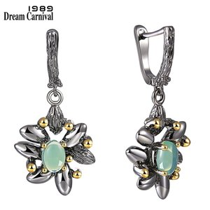 DreamCarnival 1989 Vintage Flower Earrings Women Wedding Party Simulated Blue Opal Stone Black Gothic Jewelry Hot Selling WE3890