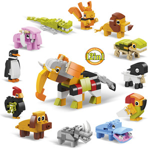 12 in 1 Educational Toy Animal Rhino Hippo Parrot Sheep Testudo Lion Squirrel Elephant Crocodile Penguin Rooster Dog Building Blocks Brick