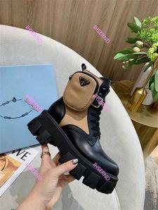 Prada 여성 최대 땅딸막 한 발 뒤꿈치 부팅 뜨거운 판매 - 두꺼운 발 뒤꿈치 여성 마틴 부츠 발목 신발 진짜 가죽 부츠 소 근육 유일한 레이스
