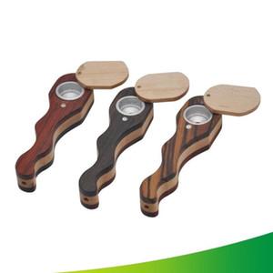 Creativas tubos de madera Manual de la serpiente en forma de tubos de madera curvo giratorias cubiertas de madera convenientemente Pipe Otro Fumar Accesorios WY568