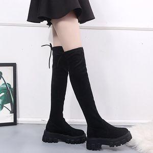 Сапоги женские по колено осенью мода длинные для женщин платформа стая круглые носки высокая обувь