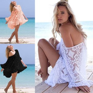 Lace Crochet Bikini Cover Up Swimsuit Sexy Women Beachwear Lace Bikini Short Cover Up Fashion Swimwear Beach Dress