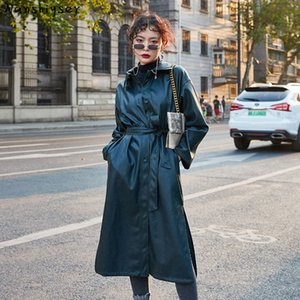 Women Long Faux leather Motorcycle Windbreaker jacket With belt Plus size Streetwear Female Outwear Jaqueta de couro Autumn New