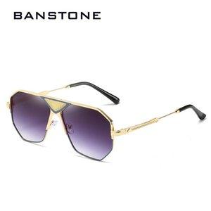 BANSTONE Moda Masculina Irregular Metal Frame Sunglasses Mulheres Outdoor Pára-sol óculos de sol UV400